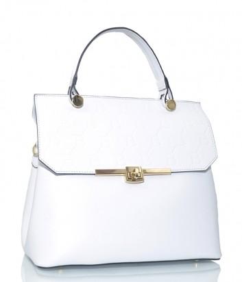 Кожаная сумка Sara Burglar 1523 с откидным клапаном белая