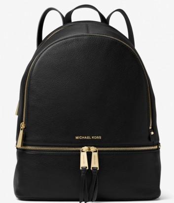 Большой кожаный рюкзак Michael Kors Rhea с внешним карманом черный