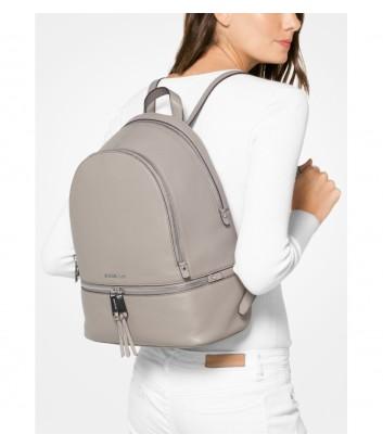 Большой кожаный рюкзак Michael Kors Rhea с внешним карманом серый
