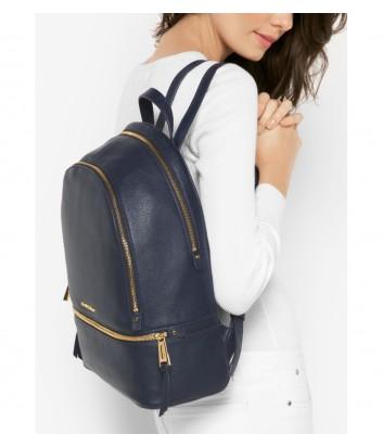 Большой кожаный рюкзак Michael Kors Rhea с внешним карманом синий