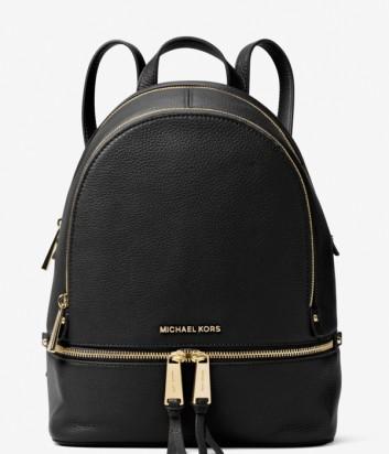 Средний кожаный рюкзак Michael Kors Rhea с внешним карманом черный