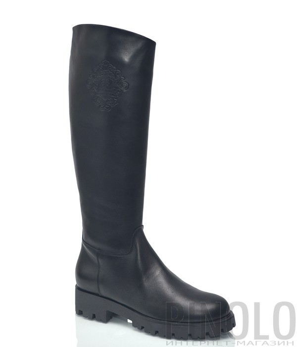 Кожаные сапоги Baldinini 9147 на протекторной подошве черные