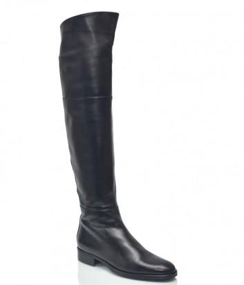Кожаные ботфорты Spaziomoda 1216 на маленьком каблуке черные