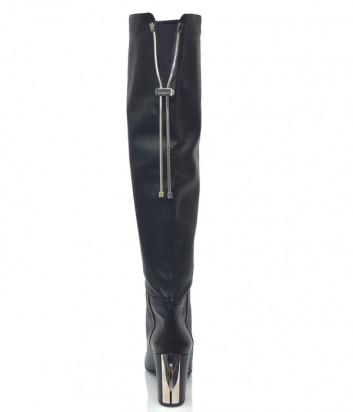 Кожаные сапоги Baldinini 1214 на широком каблуке черные