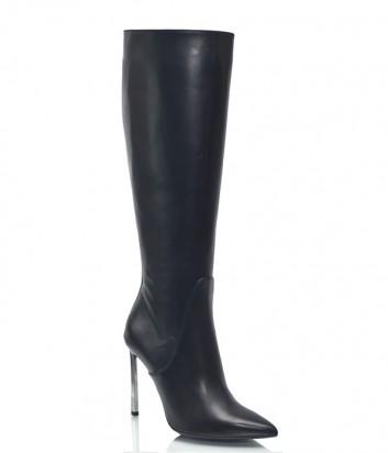 Черные кожаные сапоги Spaziomoda 1067 на шпильке