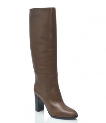 Кожаные сапоги Sergio Rossi 8094 коричневые