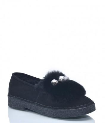Замшевые туфли Roberto Serpentini 8629 на низком ходу черные