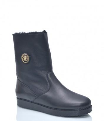 Кожаные ботинки Baldinini 7943 с мехом черные