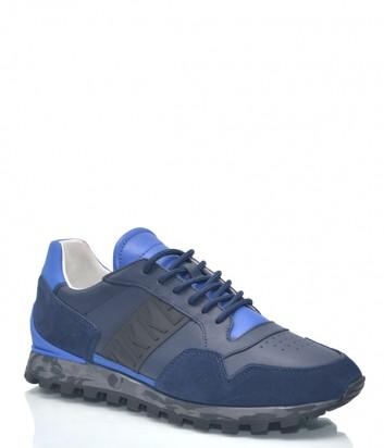Кожаные кроссовки Dirk Bikkembergs 9946 с замшевыми вставками синие