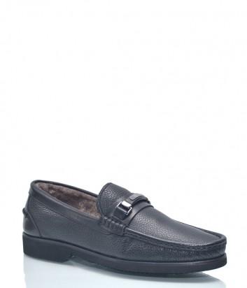 Кожаные туфли Roberto Serpentini 8634 с мехом внутри черные