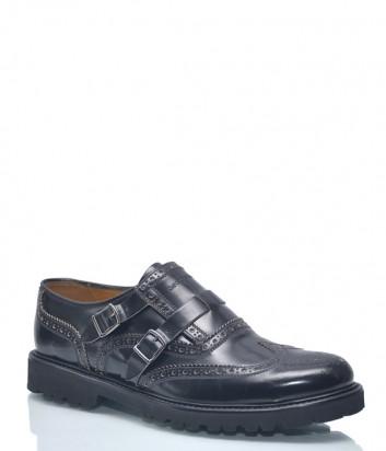 Мужские туфли Emporio Armani 9959 в гладкой коже черные