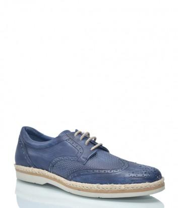 Кожаные туфли Luca Guerrini 1090 с перфорацией синие
