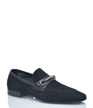 Замшевые туфли Luca Guerrini 7864 с перфорацией черные
