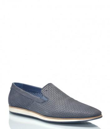 Кожаные туфли Luca Guerrini 1095 с перфорацией серые