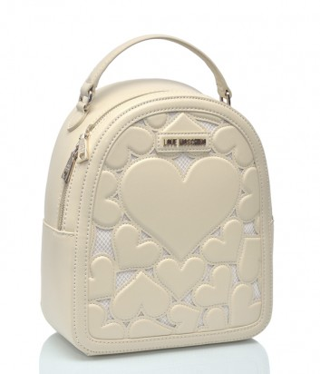 Бежевый рюкзак Love Moschino 9829 с вышитыми сердечками