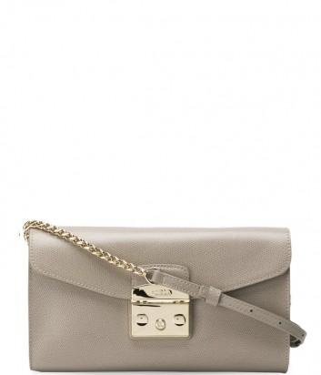 Маленькая кожаная сумка Furla Metropolis 962804 на цепочке серая