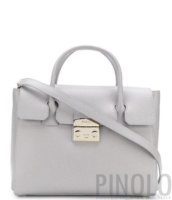 bc6aa320e598 Большая кожаная сумка Furla Metropolis 978148 серая - купить в ...
