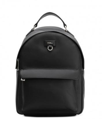 Маленький кожаный рюкзак Furla Favola 998401 с внешним карманом черный