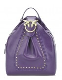 Фиолетовый кожаный рюкзак PINKO 1P2171 декорированный брошью