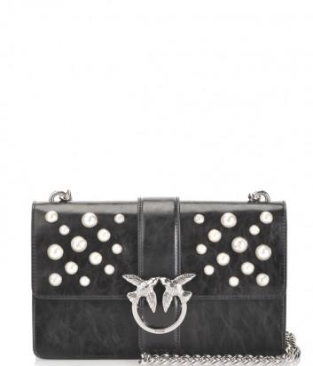 Кожаная сумка Pinko Love Bag 1P216 черная декорированная жемчужинами