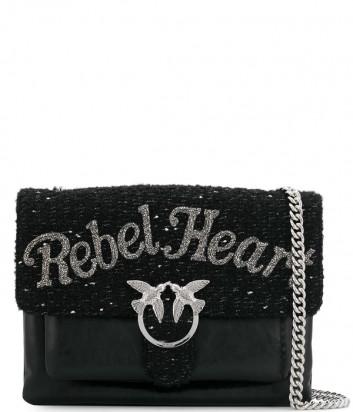 Кожаная сумка Pinko Love Bag 1P219O черная с надписью