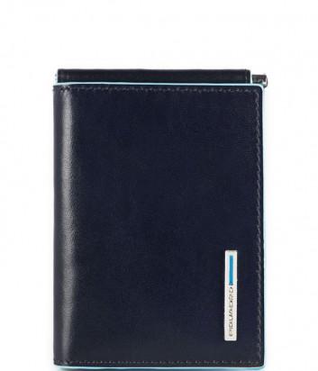 Кожаное портмоне Piquadro Blue Square PU3890B2 с зажимом для купюр темно-синее