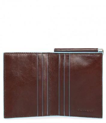 Кожаное портмоне Piquadro Blue Square PU3890B2 с зажимом для купюр коричневое