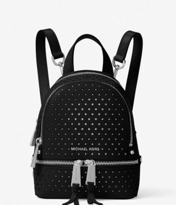 Кожаный рюкзак Michael Kors Rhea Mini с перфорацией в виде звезд черный