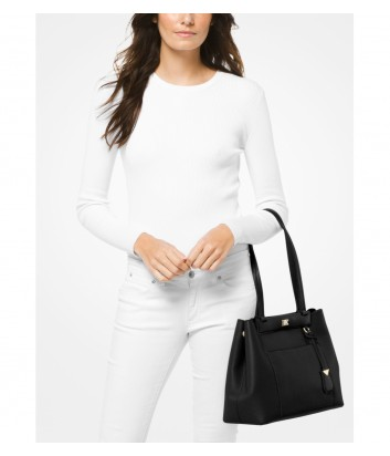 Кожаная сумка Michael Kors Meredith с внешним карманом черная