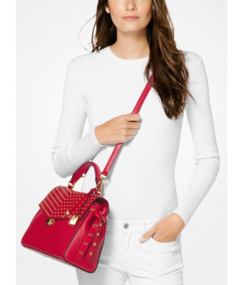 Кожаная сумка Michael Kors Bristol красная с заклепками