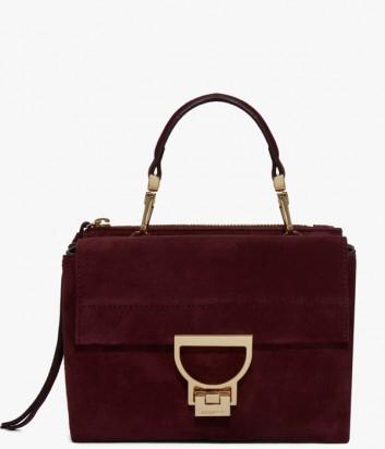 c4a1e14899b8 Маленькая замшевая сумка Coccinelle Arlettis с откидным клапаном бордовая  ...