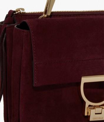 d4e0dc2029b5 ... Маленькая замшевая сумка Coccinelle Arlettis с откидным клапаном  бордовая