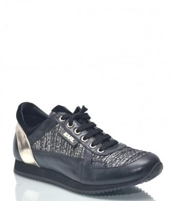 Кожаные кроссовки Karl Lagerfeld 8907 с твидовыми вставками черные