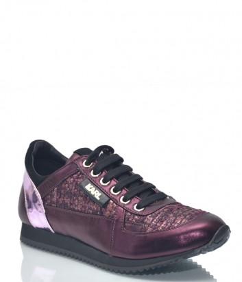 Кожаные кроссовки Karl Lagerfeld 8906 с твидовыми вставками фиолетовые