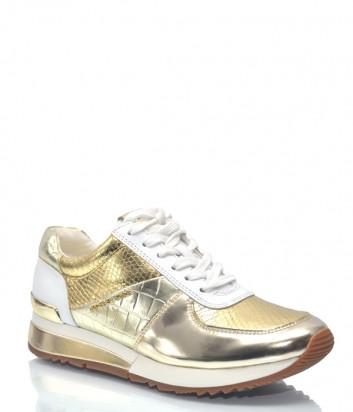 Золотые кожаные кроссовки Michael Kors 9222 с белыми вставками