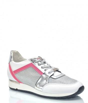 Белые кожаные кроссовки Baldinini 9229 с серебристыми вставками