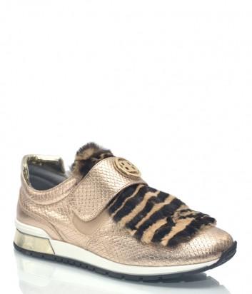 Золотые кожаные кроссовки Baldinini 7829 с меховым декором