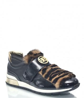 Черные кожаные кроссовки Baldinini 7941 с меховым декором