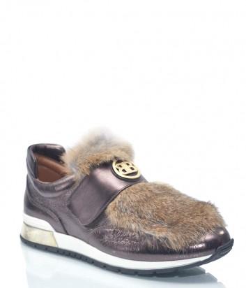 Бронзовые кожаные кроссовки Baldinini 7939 с меховым декором