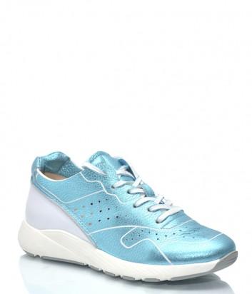 Женские кожаные кроссовки Beyond 1131 бело-голубые