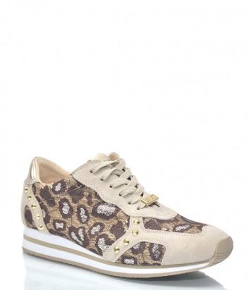 Бежевые замшевые кроссовки Liu Jo 9918 с леопардовыми вставками