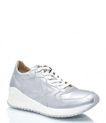 Женские кожаные кроссовки Cesare Paciotti 9927 серебристые