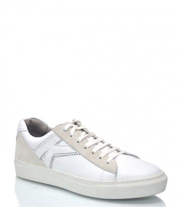 Белые кожаные кеды Karl Lagerfeld 9930 с замшевыми вставками