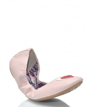 Нежно-розовые кожаные балетки Karl Lagerfeld 8911 с алыми сердечками