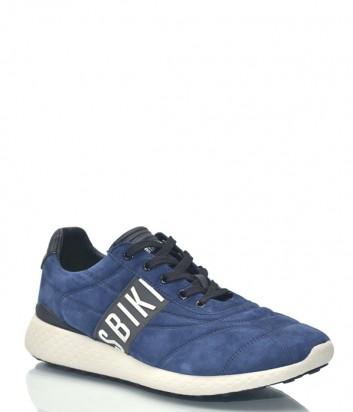 Замшевые кроссовки Bikkembergs 9414 с надписями синие