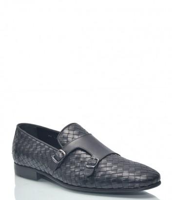 Мужские туфли Roberto Serpentini 9143 из плетенной кожи черные
