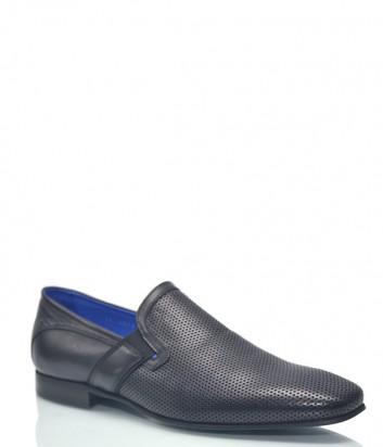 Мужские кожаные туфли Roberto Serpentini 9319 с перфорацией черные