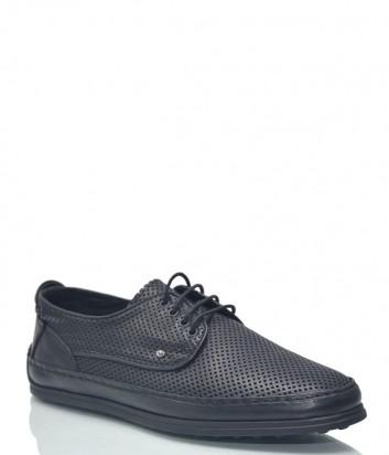Мужские кожаные туфли Roberto Serpentini 9811 с перфорацией черные