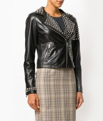 Байкерская кожаная куртка P.A.R.O.S.H. Mantra с заклепками черная