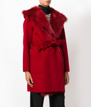 Бордовое шерстяное пальто P.A.R.O.S.H. с натуральным мехом